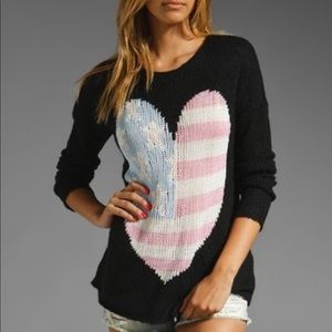 Wildfox Billy USA Flag Heart Sweater Black $230